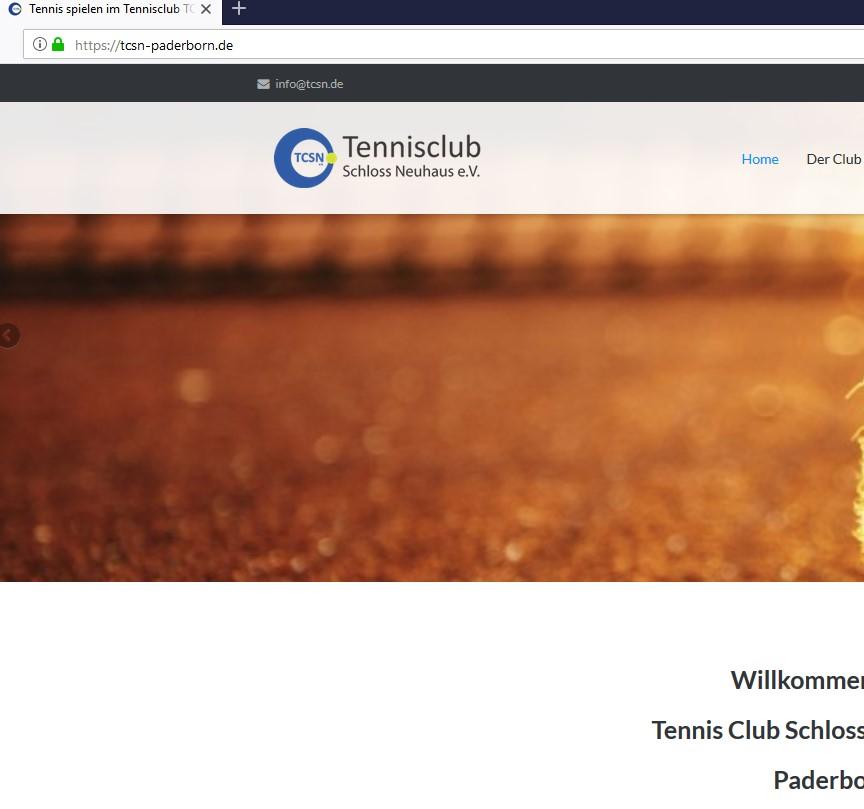 SSL-Zertifikat für den Tennisclub Schloss Neuhaus Paderborn
